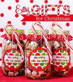 Merry Christmas Gift Idea-No-Bake Chocolate Chex Mix in Mason Jars.