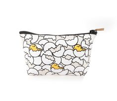 Slip your cosmetic essentials into this compact durable Gudetama pouch. Sturdy textured cotton canvas is printed with a Gudetama…