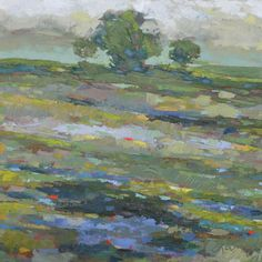 """An impressionistic oil painting of a marsh in South Carolina. Created by artist Larry Smith. 36"""" x 36""""."""
