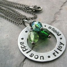 Personalized Mothers Necklace aluminum washer 3 by riskybeads, $24.95
