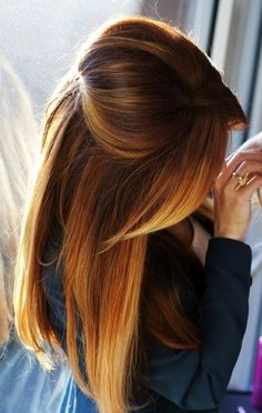 Mmm,mmmm Muffia. Chestnut brown hair, with copper ombré highlights all swept into a pretty do .