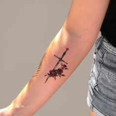 tattoos on neck Bff Tattoos, Mini Tattoos, Anklet Tattoos, Cute Tattoos, Sleeve Tattoos, Small Cross Tattoos, Cross Tattoos For Women, Black Girls With Tattoos, Sword Tattoos For Women