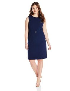 Kasper Women's Plus-Size Sleeveless Belted Seamed Dress, Indigo, 22W Kasper http://www.amazon.com/dp/B00SAUHSCU/ref=cm_sw_r_pi_dp_wo8kvb0WTSXSF
