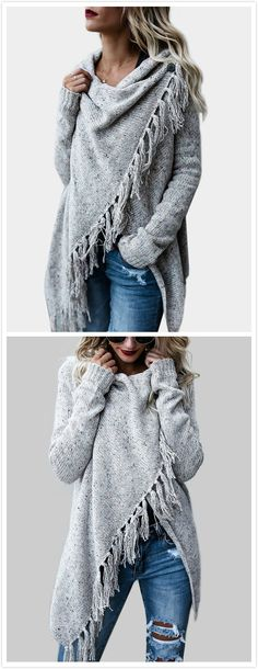 This sweater outerwear is perfect for you. With tassel details and long sleeves, this sweater outerwear features one button design that you can just wear it as fashion cape or a cardigan if you like , edgy look. Wear it with jeans would be great!