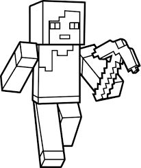 Minecraft Alex Walking With Weapon Coloring Pages To Print