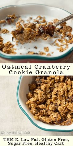 Oatmeal Cranberry Cookie Granola - THM E, Low Fat, Gluten Free, Sugar Free, Healthy Carb - If an oatmeal cranberry cookie is your sweet treat of choice you must try my breakfast version! This cookie granola tastes just like your favorite dessert turned into a breakfast cereal!