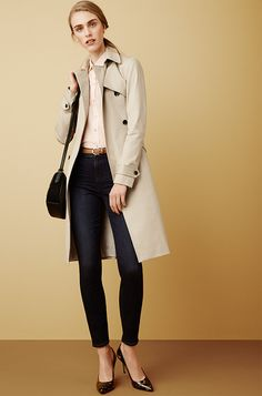 Arrive in style: Throw a tailored trench over Ann Taylor's High-Rise Jean for a polished a.m. look.