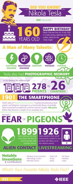 Nikola Tesla is undoubtedly one of the best engineers and inventors of all time. In honor of his 160th birthday, IEEE Transmitter put together some interesting facts about his life. #infographic