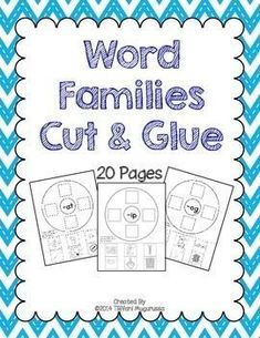 Word Families Cut and Glue by Time 4 Kindergarten Literacy Work Stations, Learning Stations, Kindergarten Math Games, Preschool, Circle Map, Rhyming Activities, First Day Of School Activities, Cvc Words, Word Families