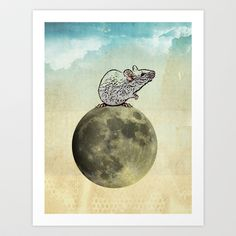 Tiny and the Cheese Moon Art Print by vin zzep - $18.00