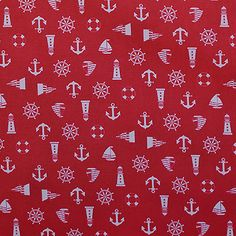 Ditsy red yacht print dressmaking fabric | Material | Ditto Fabrics online shop