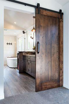 Barn door opens to the modern master bathroom for two people . - Barn door opens to the modern master bathroom for two - Master Bedroom Bathroom, Modern Master Bathroom, Bedroom Doors, Bathroom Renos, Bathroom Ideas, Shower Bathroom, Vanity Bathroom, Barn Door For Bathroom, Remodel Bathroom