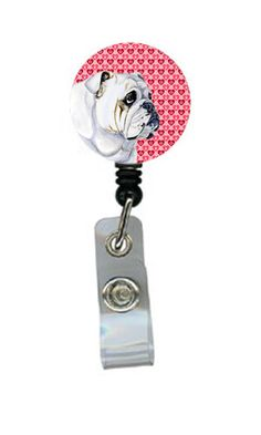Bulldog English Love and Hearts Retractable Badge Reel or ID Holder with Clip