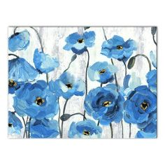 Winston Porter 'Poppies' Acrylic Painting Print on Canvas Format: Wrapped Canvas, Size: H x W Poppy Art, Flower Painting, Canvas Prints, Poppy Painting, Floral Art, Framed Canvas Wall Art, Painting, Blue Painting, Painting Prints