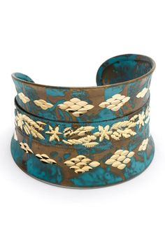 Gold & Turquoise Etched Cuff