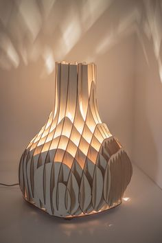 """"""" Sweet curves"""" table/floor light designed by Mariam Ayvazyan, studio """"Made in love"""" Materials: plywood Wattage: 3 x 40W normal bulbs Dimensions: Height 48 x Radius 21cm"""