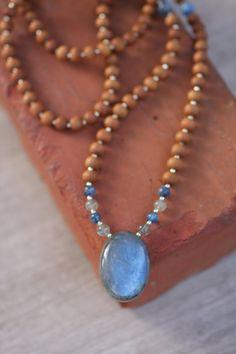 EXCLUSIVE Blue Labradorite Sandalwood Mala  - Meditation Inspired Yoga Beads…