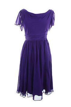NEW S.L. Fashions Purple Petite 10P Ruched Pleated Chiffon Back V neck Dress | eBay
