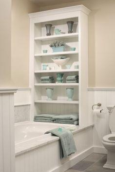 bathroom storage with premade bookcase.