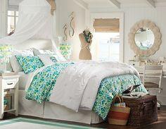 Seahorses :) | PBteen #bedroom #white #blue