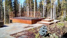 stone patio with hot tub deck
