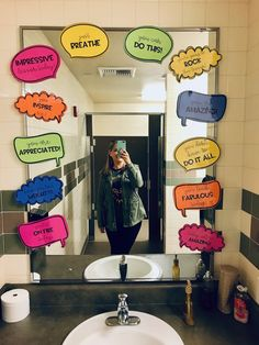 EDITABLE Motivating Speech Bubbles is part of Teacher morale - editable slides to add your own messages Teacher Morale, Staff Morale, Team Morale, Student Teacher Gifts, Employee Appreciation Gifts, Teacher Appreciation Week, Volunteer Appreciation, School Bathroom, Staff Motivation