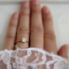 14K Solid Rose Gold Solitaire Ring with White by 360Diamonds