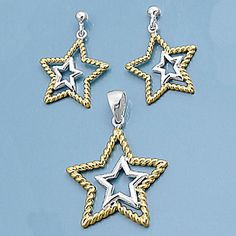 Helena: Two Tone Dangling Star Matching Pendant & Earrings Set - Trustmark Jewelers