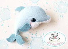 The Fish PDF pattern-Sea animal toy-DIY-Nursery decor-Instant Diy Toys, Toy Diy, Dragon Nursery, Baby Dolphins, Diy Nursery Decor, Diy Y Manualidades, Baby Mobile, Felt Mobile, Felt Toys