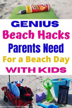 Beach Hacks & Tips Every Parent Needs for a Stress-free Beach Day with Kids. Find simple & clever tips you won't believe you didn't know before. Everything you need to think about to prepare for a fun family day at the beach. Perfect for family vacations or local beach outing with your kids. Family Vacation Destinations, Beach Vacations, Florida Vacation, Family Vacations, Vacation Ideas, Family Travel, Beach Activities, Travel Activities, Beach Kids