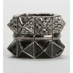 Stacked Pyramid Rhinestone Ring found on Polyvore