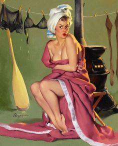 """Blanket Coverage"" 1950 (Gil Elvgren)"