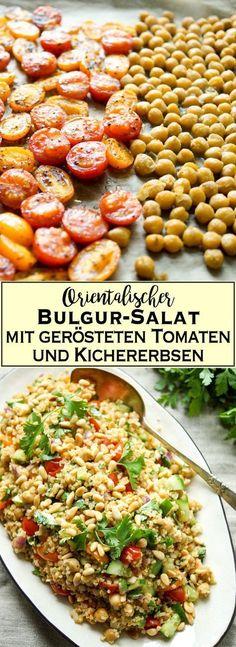 Ein leckeres, orientalisch inspiriertes Rezept für einen Bulgur-Salat mit Aromen aus dem Nahen Osten. Im Ofen geröstete Sumach Tomaten und Kreuzkümmel (Cumin) Kichererbsen mit knackiger Gurke und frischen Kräutern ergeben ein sättigendes und gesundes Gericht, über das sich auch Eure veganen und vegetarischen Freunde freuen werden. Einfache Gesunde Rezepte - Elle Republuc