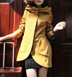 Great yellow Hooded Wool Coat.