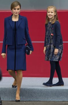 King Felipe of Spain (L), Princess Leonor andInfanta Sofia (R) attend the National Day Military Parade 2015 on October 12, 2015 in Madrid...