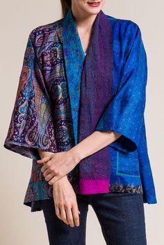 Mieko Mintz Vintage Silk Kimono Jacket in Purple/Blue Silk Jacket, Kimono Jacket, Fashion Sewing, Kimono Fashion, Hippy Chic, Dress Alterations, Clothes Crafts, Silk Kimono, Up Girl