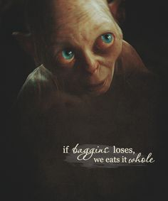 Gollum/Smeaol looks so sweet and innocent as he proposes EATING Bilbo!