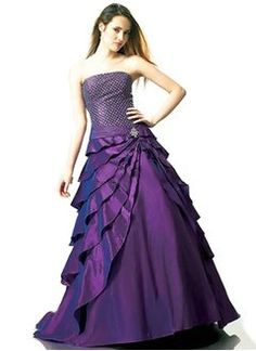 Ball-Gown Strapless Floor-Length Taffeta Prom Dress With Ruffle