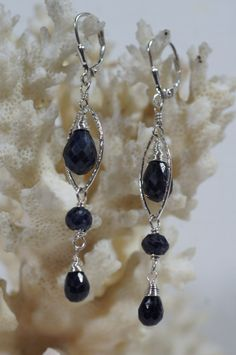 Navy Blue Sapphire Earrings Long Earrings Gemstone by Trendydeals, $65.00