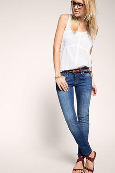 edc - Stretch-Denim mit Leder-Gürtel im Online Shop kaufen Dark Blue Skinny Jeans, Stretch Denim, Neue Trends, Edc, Pants, Fashion, Women's, Trouser Pants, Moda