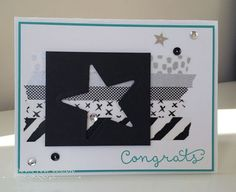 Congrats, Rock Star!  Great homemade graduation card by Kristin Kortonick. Features the Cottage Greetings stamp set by #stampinup