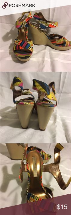 Cynthia Vincent printed Wedge Heels size 9.5 Gently used colorful African inspired printed wedge heels! Adjustable ankle straps for comfort & fit. Great for summer dresses or with jeans!  Cynthia Vincent Shoes Wedges
