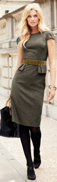Add a jacket if you plan on attending a networking event; otherwise you are good to go in this sleek grey dress!