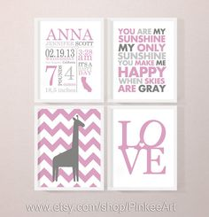 personalized baby stats art pink, personalized new baby gift, nursery birth print, custom baby name art, baby birth print custom baby quotes by PinkeeArt, $29.00