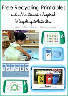 Free recycling printables for Earth Day or any day along with ideas for Montessori-inspired recycling activities for home or classroom; post includes free reduce, reuse, recycle unit study!