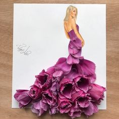WEBSTA @ edgar_artis - I love tulips so much 😍🌷My favorite materials are food and flowers.Guys thank you so much for your kindness.I truly appreciate it. You are such good people. Arte Fashion, Paper Fashion, Floral Fashion, Dress Design Sketches, Fashion Design Drawings, Fashion Sketches, Fashion Sketchbook, Arte Floral, Creative Art