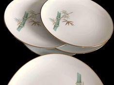 Mid Century Noritake Salad Plates Oriental Pattern 6431 Bamboo Gold Trim Set of Five Plates 1962-1978 Vintage China Plates Asian Kitchen by MerrilyVerilyVintage on Etsy https://www.etsy.com/listing/569101856/mid-century-noritake-salad-plates