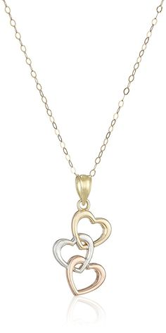 10k Gold Tri-Color Three Heart Drop Necklace, 18' * Read more reviews of the product by visiting the link on the image.