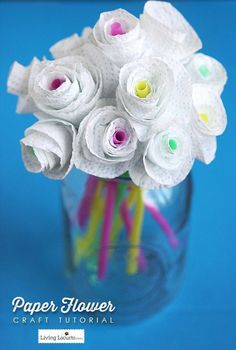 This is such a fun and easy kids party activity!! Paper Flower Craft Tutorial and Tips for How to Add Color to Your Home. LivingLocurto.com