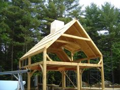 Parker Pond Shores is a 1500 square foot Maine timber frame barn, or carriage house if you will. Timber Frame Garage, Timber Frame Homes, Timber Frames, Tiny House Cabin, Cabin Homes, Shed Plans, House Plans, House Plan With Loft, Backyard Sheds